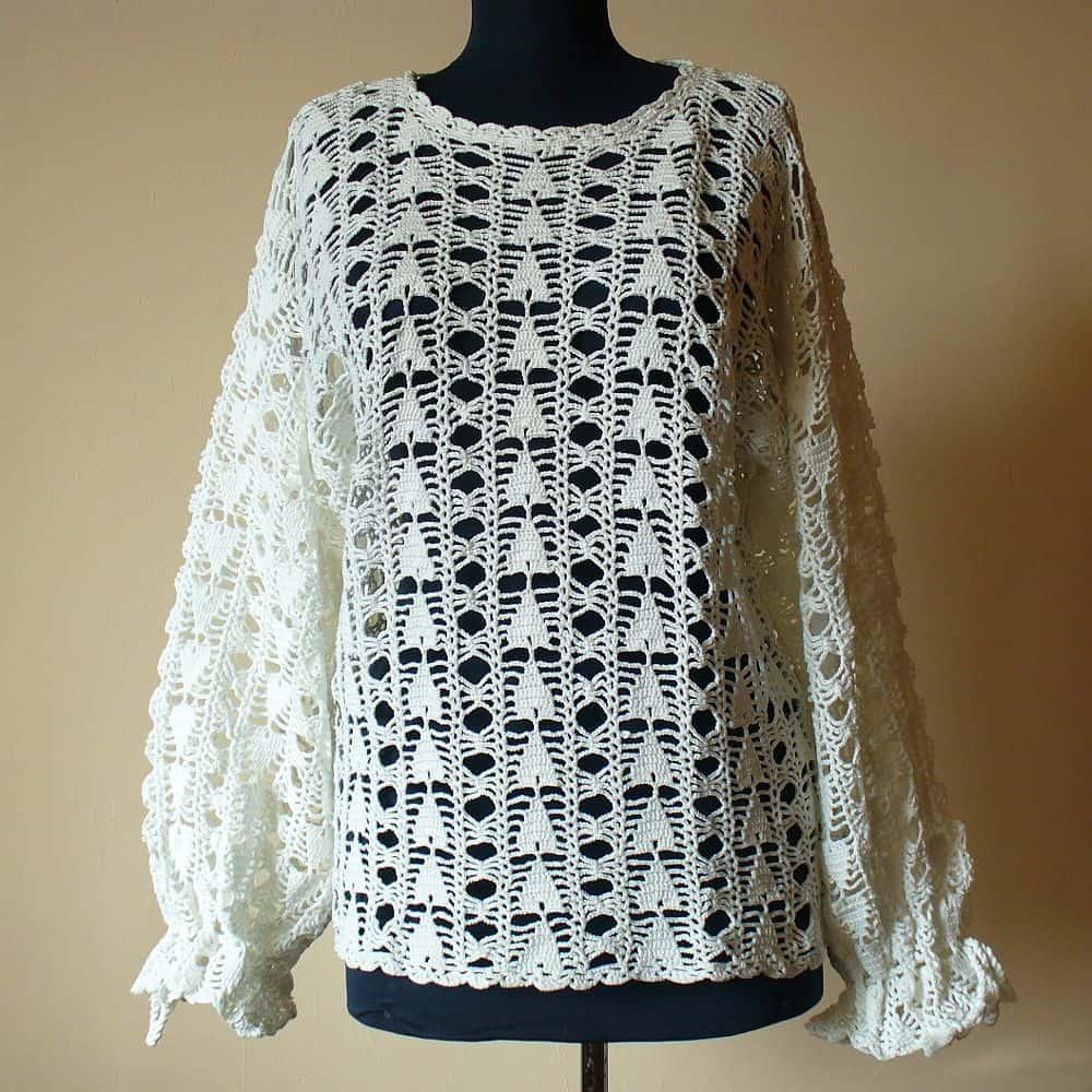 White Hand Crochet Women\'s Jumper With Long Sleeves